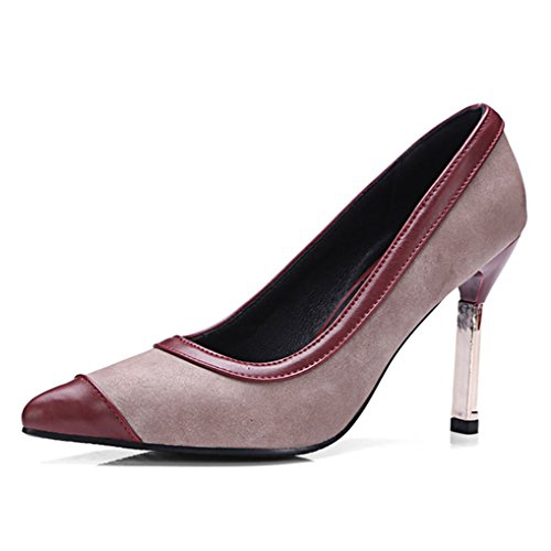 Tyylikäs Viininpunainen Kengät Zhu Korkea Naiset Metallin on Kantapää Ohut Teräväkärkiset Pumput Slip York A6BtWqq