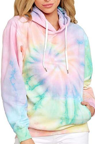 HVEPUO Color Block Tie Dye Printed Pullover Loose Crewneck Or Hoodie Long Sleeve Casual Tops Sweatshirts for Women(S-XXL)
