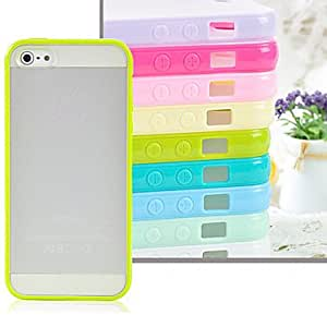 iPhone 5S Case, WKell Scrub Hard Bottom Soft Edge Transparent Plastic Back Cover for iPhone 5/5S (Assorted Color),Black
