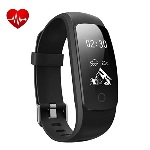 Heart Rate Counter - MICROTELLA Fitness Tracker with Heart Rate Monitor, Smart Activity Watc, Waterproof Smart Band with Step Counter, Calorie Counter, GPS Fitness Tracker, Pedometer Watch for Kids Women and Men - Black