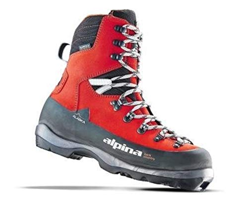 Alpina Sports Alaska Leather Backcountry Cross Country Nordic Ski Boots, Euro 40, Red