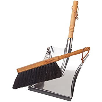 Bürstenhaus Redecker Dust Pan and Brush Set, Horse Hair, Stainless Steel and Beechwood