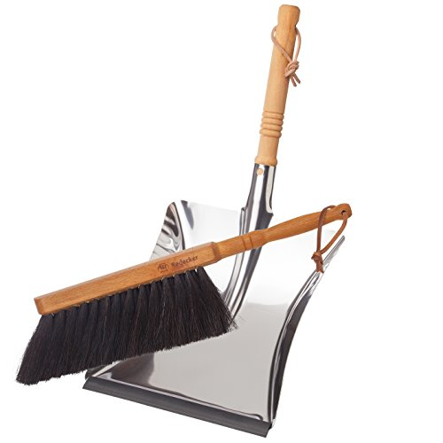 Redecker Dust Pan and Brush Set, Horse Hair, Stainless Steel and Beechwood