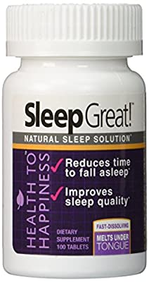 Health to Happiness SLEEP GREAT Sleep Solution, 100 Quick Dissolve Tablets GREAT TASTING Cherry Flavor, 2 Ounce NON-HABIT Forming Sleeping Aid SPECIAL BLEND with Melatonin and Lemon Balm Extract