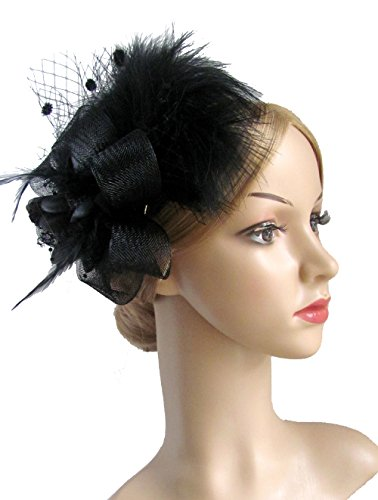 Kathyclassic Women's Fascinator Hair Clip Feather Wedding Headware Bridal 1920s Headpiece (Black)