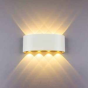 Modern Wall Light 8W White LED Sconce Up Down Wall Lamp Aluminium LED Waterproof Spot Light Night Lamp for Living Room, Bedroom, Hallway, Bathroom Decorative Warm White Wall Wash Lights
