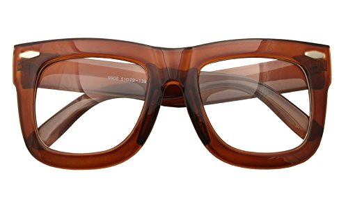 Vintage Inspired Geek Oversized Square Thick Horn Rimmed Eyeglasses Clear Lens (BROWN 9906, Clear)