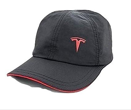 07135de6 Tesla Unstructured Athletic Baseball Hat (Black & Red) at Amazon ...