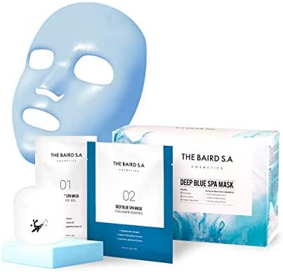 BAIRD Deep Blue Spa Modeling Mask - Professional Grade Spa Skincare Korean Face Mask - Anti-Aging Anti-Wrinkle Anti-Spot Instantly Brightening Hydrating Cooling Hydrolyzed Collagen Beauty Facial Mask