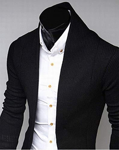 Couleur Tricoté Pull Cardigans Noir Manches Manteau Unie Neck Vetement Fashion Confortables Tricot V Solide Tailles Homme Cardigan Front Veste Longues Ouvert Longs Hx RFq6wS4