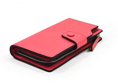 Mailo Süßigkeit Farben Damen Dame Leder Mappen Reißverschluss Geldbeutel Mappen RFID Kreditkarte Kupplungs Halter Kasten für Mädchen (Hell-Pink) Rosa 20Wa1UF