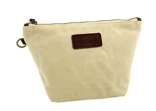 da283251ec9a Angelina's Palace Hand made Canvas Leather Cosmetic Bag Make Up Bag ...