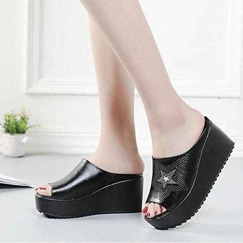 Noir Sandales épais des UK4 5 Pour pour mode haut été femmes Noir Noir 5cm EU37 femmes 4 taille Sandales Blanc CN37 Couleur 8 Femmes pantoufles avec chaussures épaisses de HAIZHEN 6azBq
