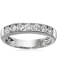 Sterling Silver Platinum-Plated Swarovski Zirconia Round Channel Band Ring