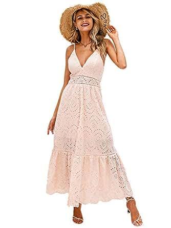 BerryGo Women's Embroidery Pearl Button Down Dress V Neck Spaghetti Strap Maxi Dress - Pink - 0/2