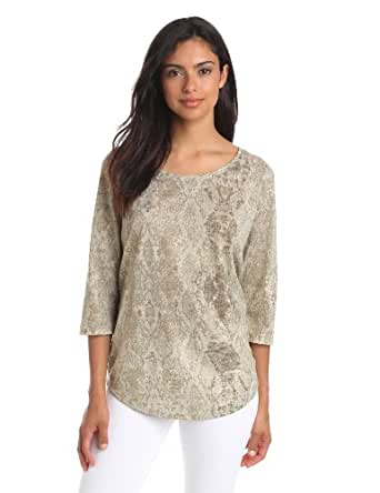 Kenneth Cole New York Women's Joni Knit Top, Mangrove Root Combo, Large