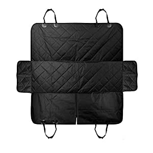"Luxury Dog Car Seat Covers, Car Cover for Dogs & Pets with Side Flaps Hammock Convertible Tear Proof, Nonslip Washable Waterproof Padded Seat Cover for Cars Trucks & SUVs 54""x58"" with 2 Dog Seat Belts"