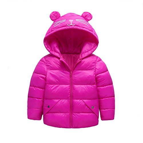 Fairy Baby Baby Boys Girls Winter Ultra Light Down Jacket Kids Ear Warm Coat Hoodie Outwear Size 2-3T (Rose Red) by Fairy Baby