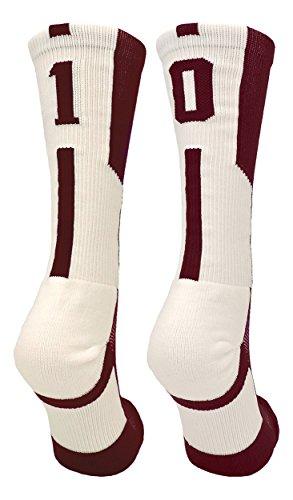 (TCK Player Id Maroon/White Number Crew Socks (#10, Small))
