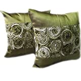 A pair of Beautiful Thai Silk Pillow Covers for decorate Living Room, Bed Room, Sofa, Car / Size 16 X 16 Inches Code 3037