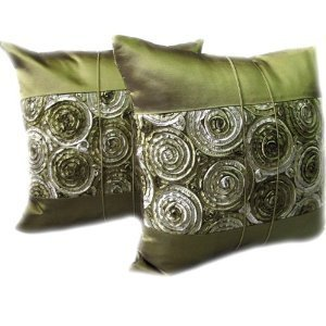 A pair of Beautiful Thai Silk Pillow Covers for decorate Living Room, Bed Room, Sofa, Car / Size 16 X 16 Inches Code 3037 by littlemadamestore