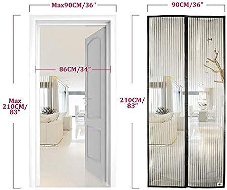 Porte Moustiquaire Magn/étique 210 x 90cm, noir Anlising Rideau Magn/étique pour Moustiquaire Pour porte Balcon Rideau Anti-mouche Rideau Magn/étique pour moustiquaire Porte rideau