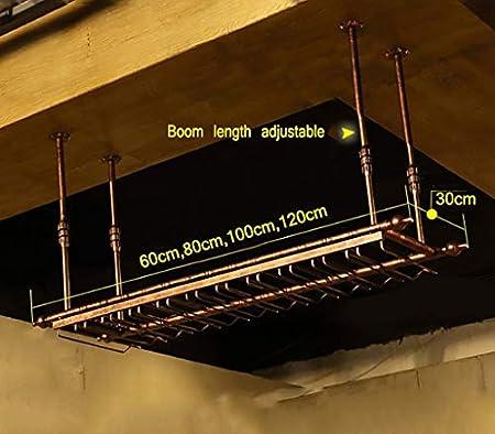 Estantería de vino Vino bastidores de techo, metal de hierro titular de la botella de vino de vidrio estante rejilla for copas montado en la pared de altura regulable, bar decorado al estilo de visual
