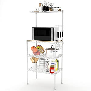 Lifewit 4-Tier Bakers Rack, Microwave Oven Stand with Hanging Hooks for Kitchen Storage, Carbon Steel, White
