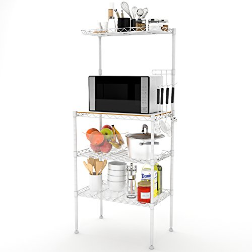 Lifewit 4-Tier Baker's Rack, Microwave Cart Oven Stand with 4 Hanging Hooks & Spice Rack for Kitchen Storage, Carbon Steel, White