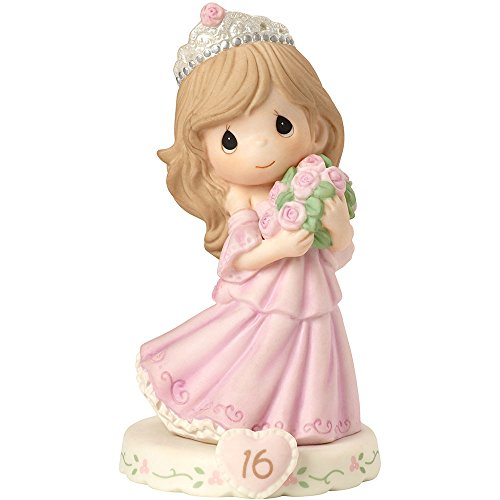 Precious Moments 162015B  Growing In Grace, Age 16, Bisque Porcelain Figurine, Brunette Girl