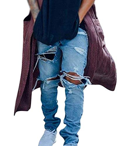 Strappati Fit Pantaloni Uomo Look Denim Ragazzi Slim Jeans Stretch Blau Da E Usati Biker Blu Lavati Classiche Yz5FPFwq8