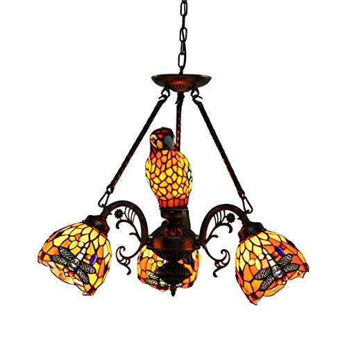 Makenier Vintage Tiffany Style Stained Glass 3 Arm Downlight + 1 Arm Uplight Shade Chandelier (Red, 3 arms Dragonfly + 1 arm Parrot Shade)