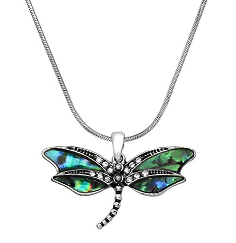 DianaL Boutique Silvertone Abalone Dragonfly Pendant Necklace Fashion Jewelry