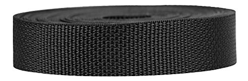 Strapworks Lightweight Polypropylene Webbing - Poly Strapping for Outdoor DIY Gear Repair, Pet Collars, Crafts - 1 Inch x 50 Yards - Black