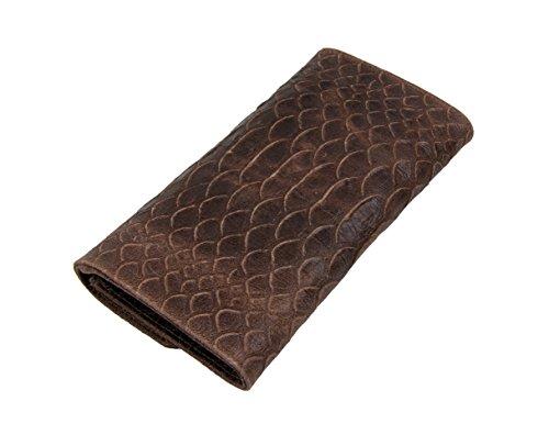 """Slingbag """"Ela V Clutch/sera borsa/borsa a mano in vera pelle effetto scaglie/colori a scelta, marrone (grigio) - 4251042504797 marrone"""