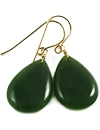 14k Gold Filled Nephrite Jade Earrings Dark Green Fat Teardrop Medium Smooth