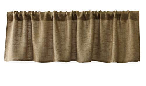 Valea Home Burlap Natural Tan Valance Rod Pocket Window Curtain Valance Rustic Home Décor 56 by 14 Inches (Curtains And Window Valances)