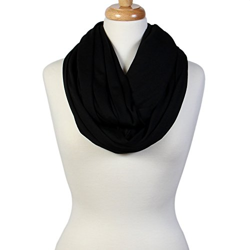 Scarfand's Super Soft Light Weight Solid Color Infinity Loop Scarf (Double Size - Black)