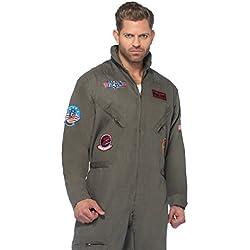 Leg Avenue Top Gun Men's Flight Suit Adult Costume Green 1X Adult