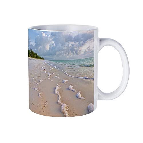 DKISEE Sea Beach Foam Coffee Mug Novelty Ceramic Mug Birthday Christmas Anniversary Gag Gifts Mug Cup, White, 11 Oz