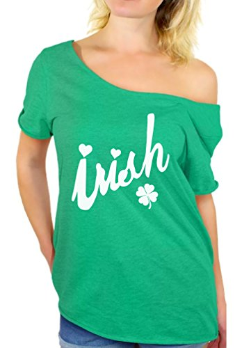 Awkwardstyles Women's Irish White Off Shoulder Tops T-Shirt + Bookmark L Kelly -