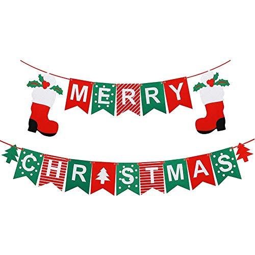 Little Biene Guirnalda de Navidad con texto en inglés 'Merry Christmas', con diseño de Papá Noel, árbol para Navidad,...