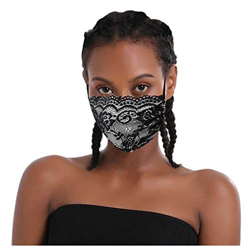 Sayolala 3 PCS Lace Embroidery Face Shield Reusable Washable Face Covering Face Bandana Anti Dust Sand Anti Exhaust Sunscreen Mouth Covers