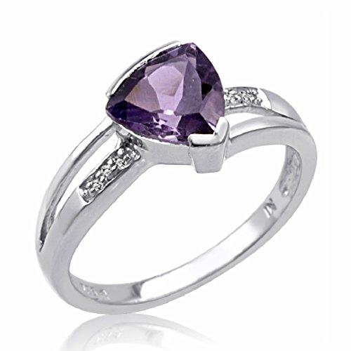 Sterling Silver Trillion Cut Amethyst and Diamond Ring (1 1/4ct tgw Sizes 6-9)sz 7