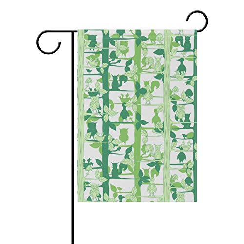 HOOSUNFlagrbfa Garden Flag Decorative Owls Squirrels On Green Tree Double Sided Printing Fade Proof for Outdoor Courtyards 12x18 inch