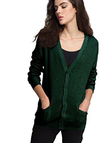 Escalier Women Classic Cardigan V-Neck Button Down Knitwear Top Sweater (6, Green)