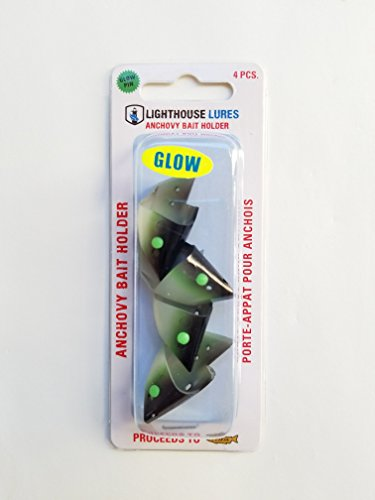 Lighthouse Lures Anchovy Teaser Heads 4 Pack (Black Green Glow) (Bait Heads)