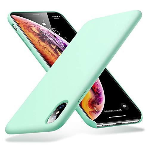 資料逮捕哀ESR iPhone Xs ケース iPhone X ケース 5.8インチ 軽量 薄型 【驚くほどの手触り 液体シリコン加工】 精細ファイバー裏地 落下 衝撃 吸収 iPhoneXs/iPhoneX (ミントグリーン)