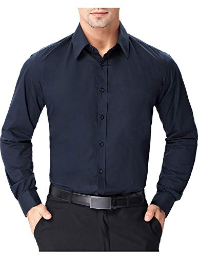 Mens Casual Lapel Neck Dress Shirts for Stage (S, Navy Blue 52-4) Button Down Cotton Jeans