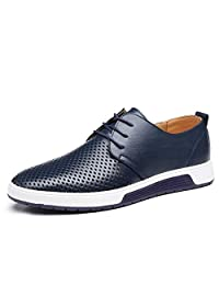 QCO Men's Casual Oxford Shoes Breathable Flat Fashion Sneakers